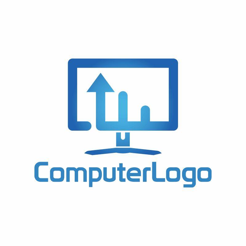 抽象矢量电脑标志设计