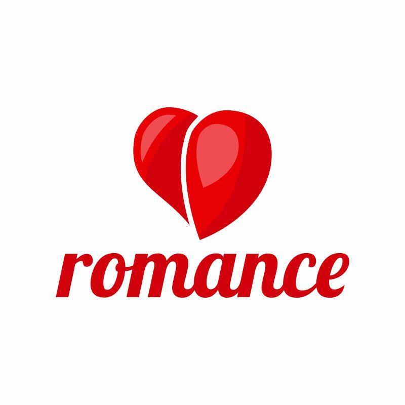 抽象矢量浪漫心形标志设计