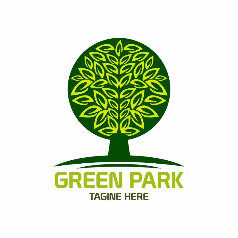 创意矢量绿色公园标志设计