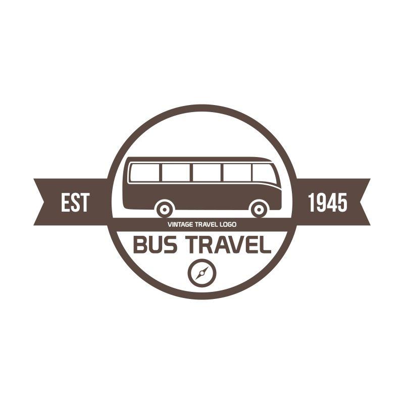 抽象矢量现代巴士元素标志设计