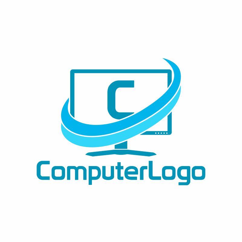 抽象矢量现代字母c的电脑标志设计