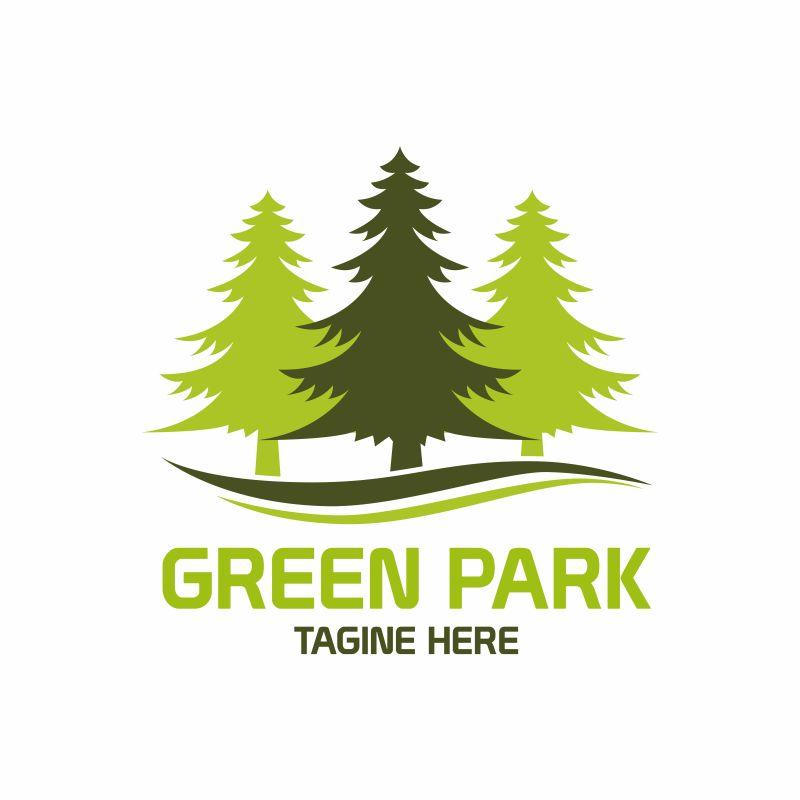 抽象矢量绿色森林标志设计