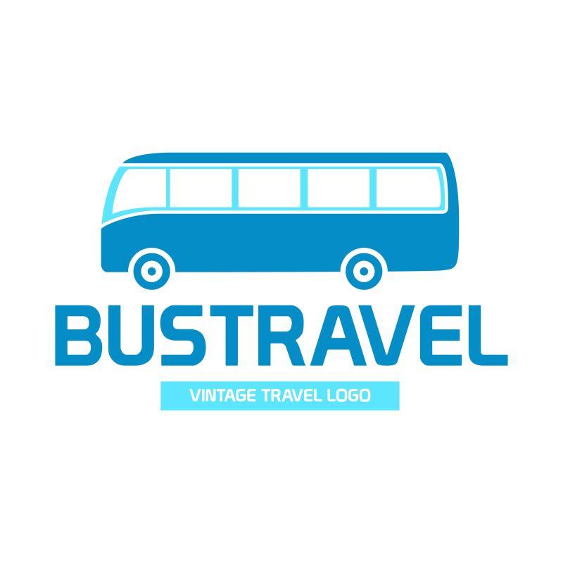 抽象矢量旅游巴士标志设计插图