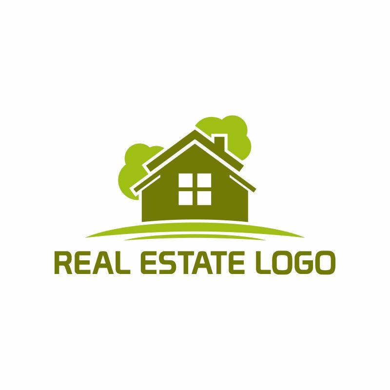 抽象矢量现代绿色建筑标志设计