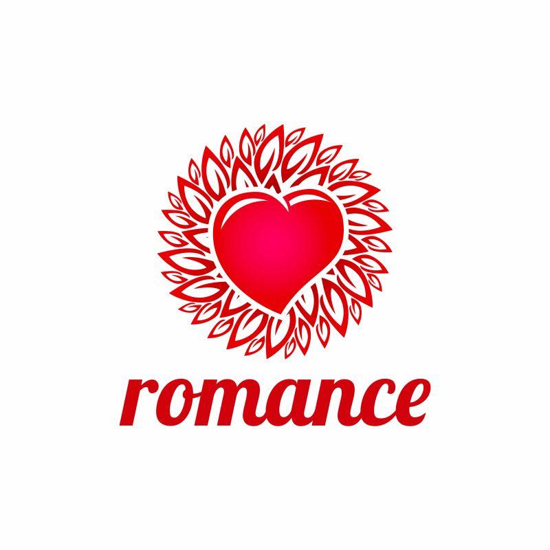 抽象矢量浪漫商业心形标志设计