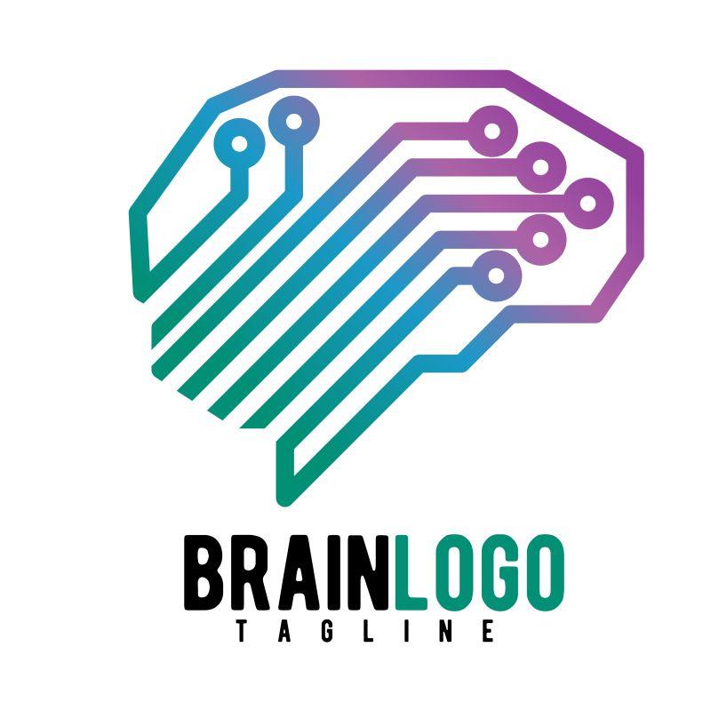 抽象矢量现代几何风格的艺术大脑标志设计