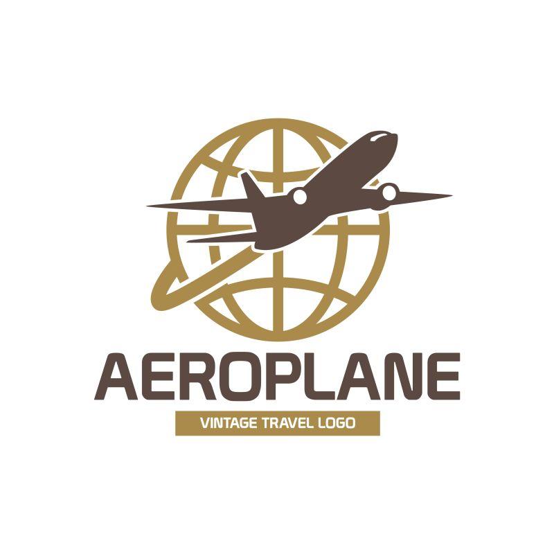 抽象矢量飞机元素的商业标志设计