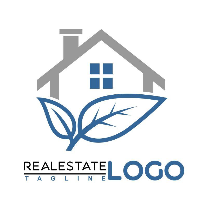 矢量抽象生态健康房屋标志设计