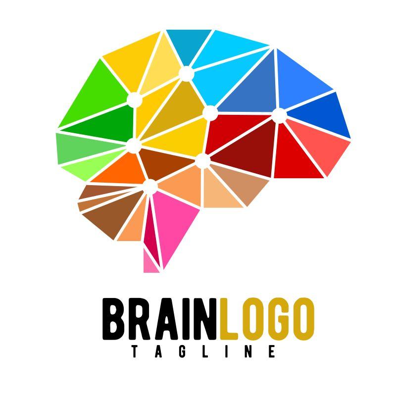 抽象矢量彩色几何风格的大脑标志设计