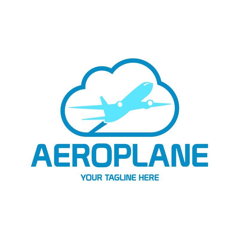 抽象矢量现代飞机公司标志设计