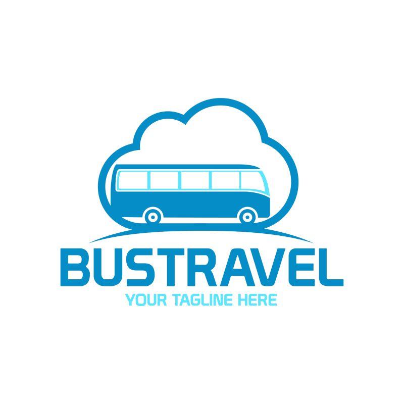 抽象矢量旅行巴士标志设计