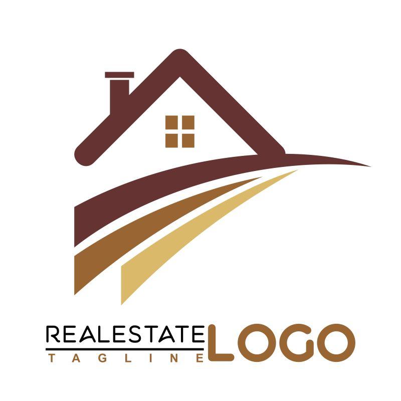 抽象矢量现代商业房屋标志设计