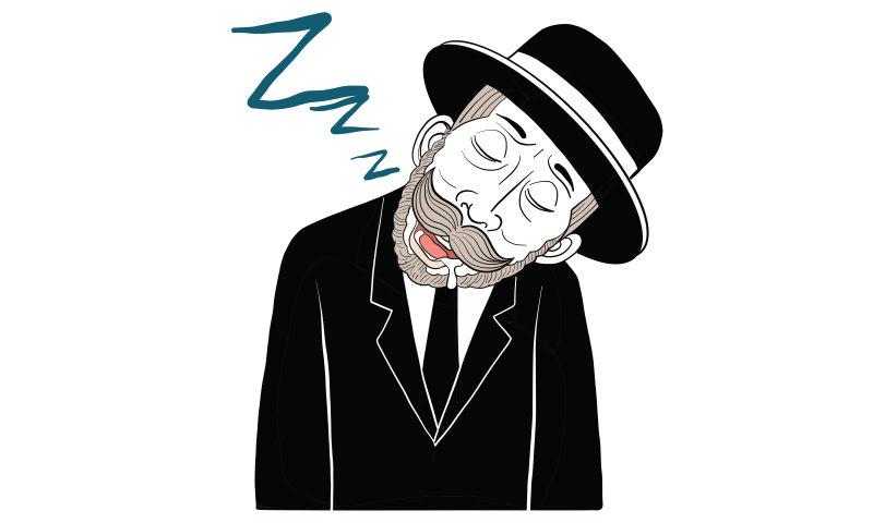矢量睡着的胡子男人