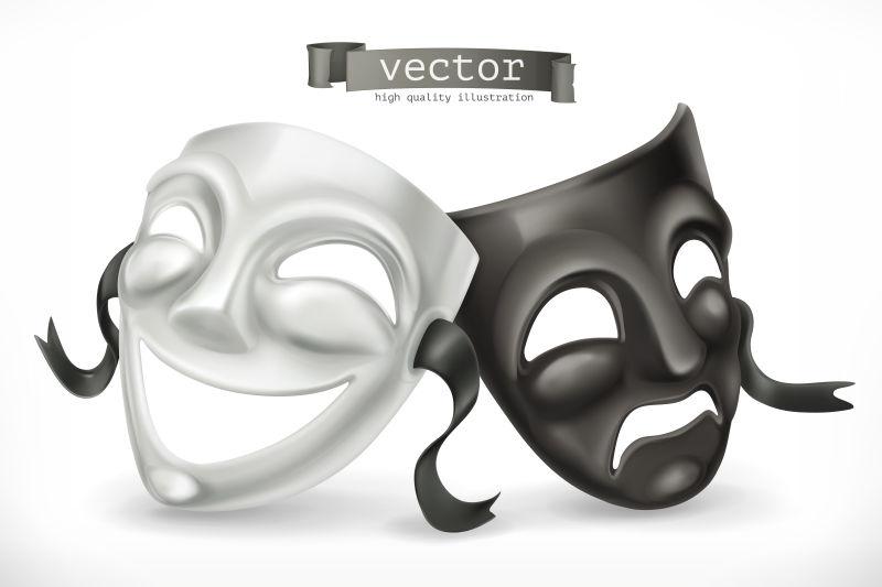 黑白相间的面具。喜剧与悲剧,3D矢量图标
