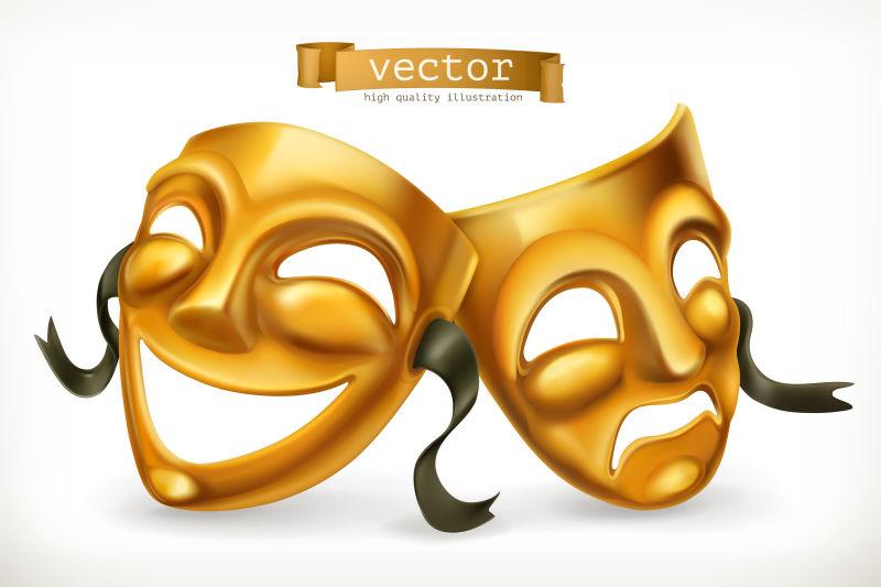 金色的戏剧面具喜剧与悲剧,3D矢量图标