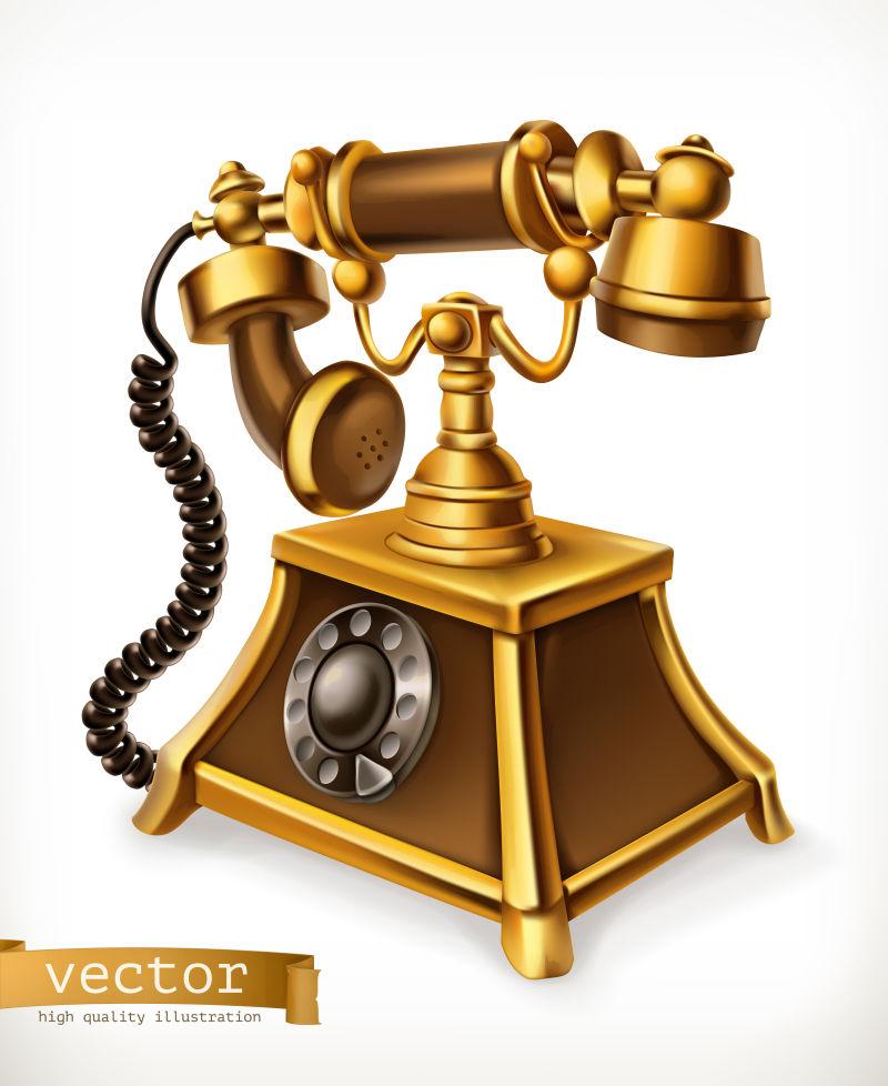 老式电话,3D矢量图标