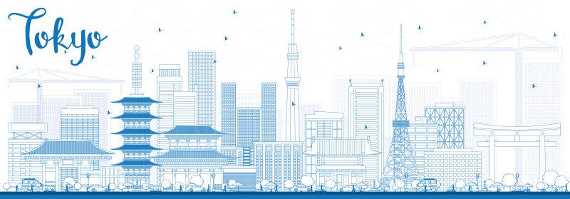 东京天际线与蓝色建筑轮廓。