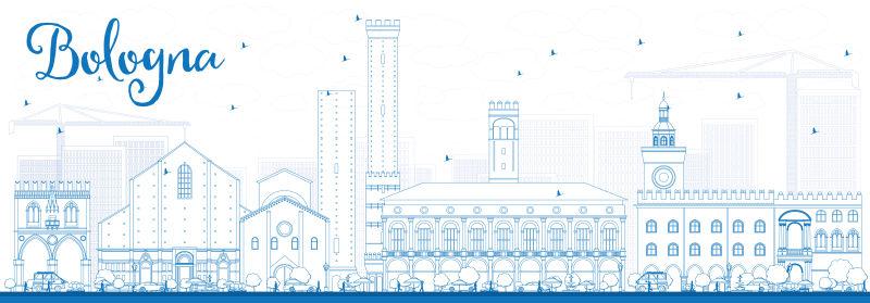 博洛尼亚轮廓线,蓝色标志。