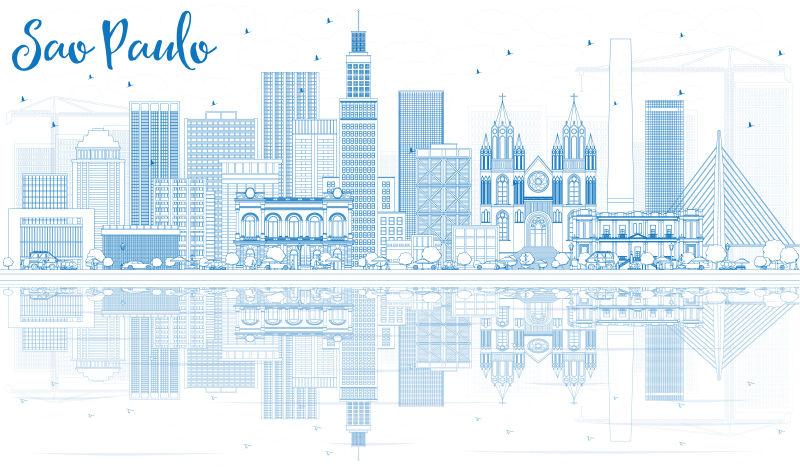 用蓝色建筑勾勒出圣保罗的轮廓。