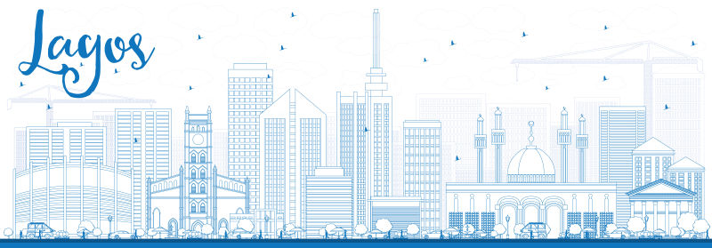 用蓝色建筑勾勒出拉各斯的天际线。