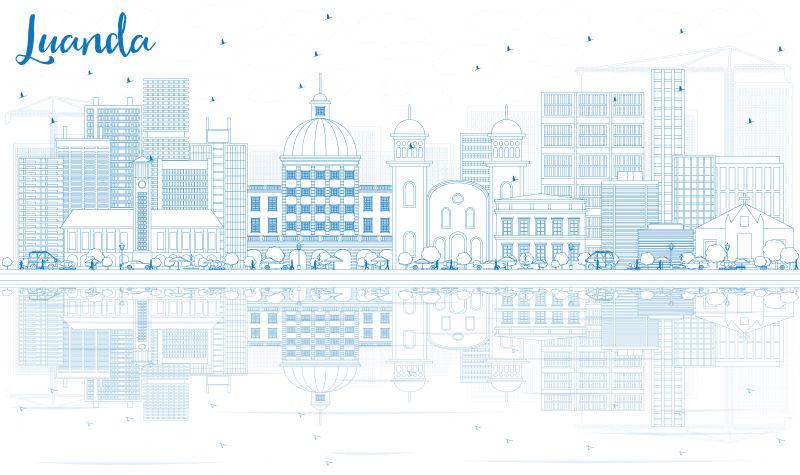 用蓝色建筑勾勒出罗安达的轮廓。