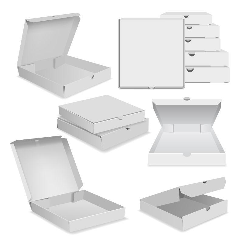 抽象矢量白色披萨包装设计