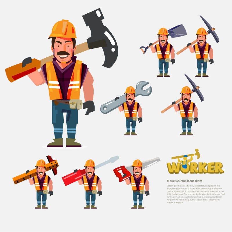 创意矢量卡通修理工人插图设计