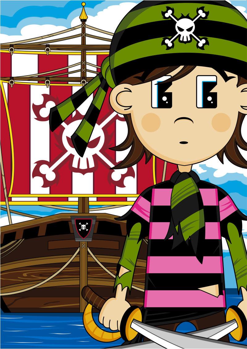 海盗水手和船可爱的卡通插图
