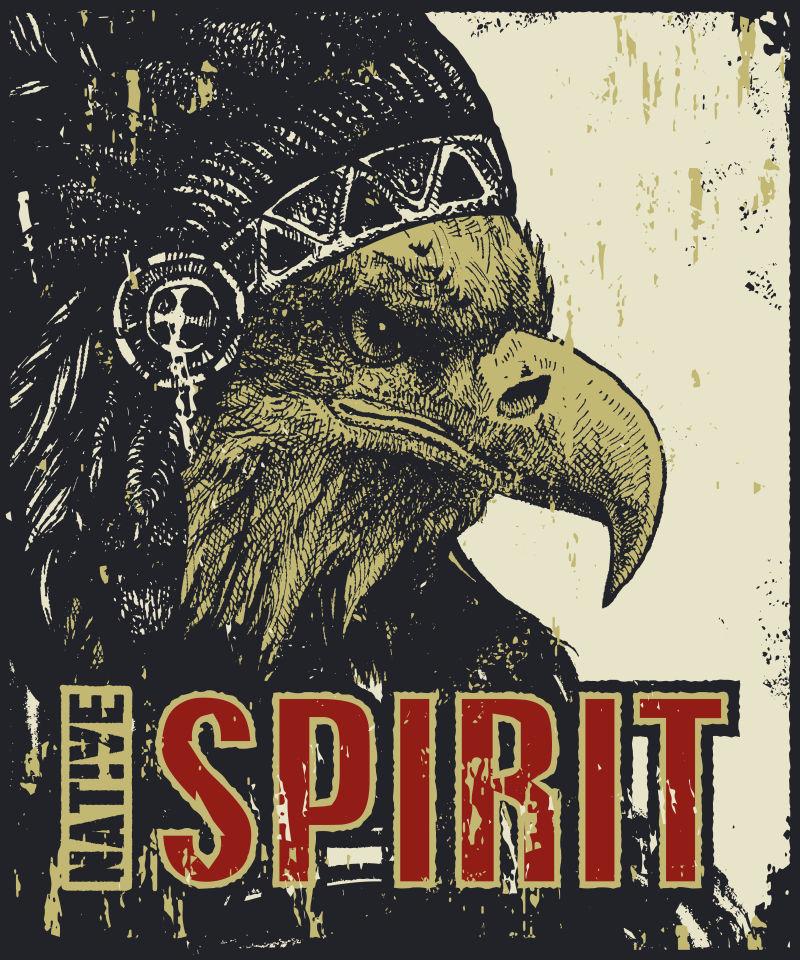矢量复古老鹰图案海报