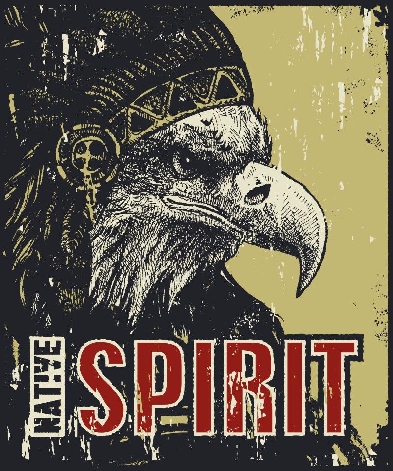 老鹰图案的复古海报矢量设计