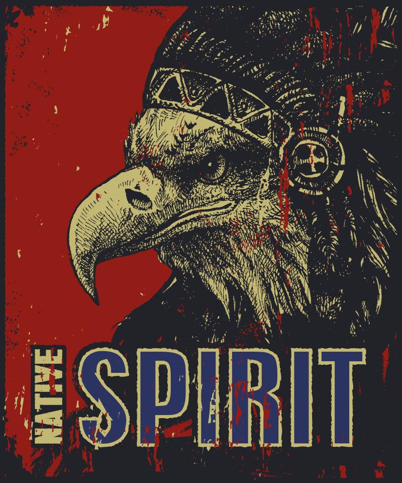 复古的老鹰图案海报矢量设计