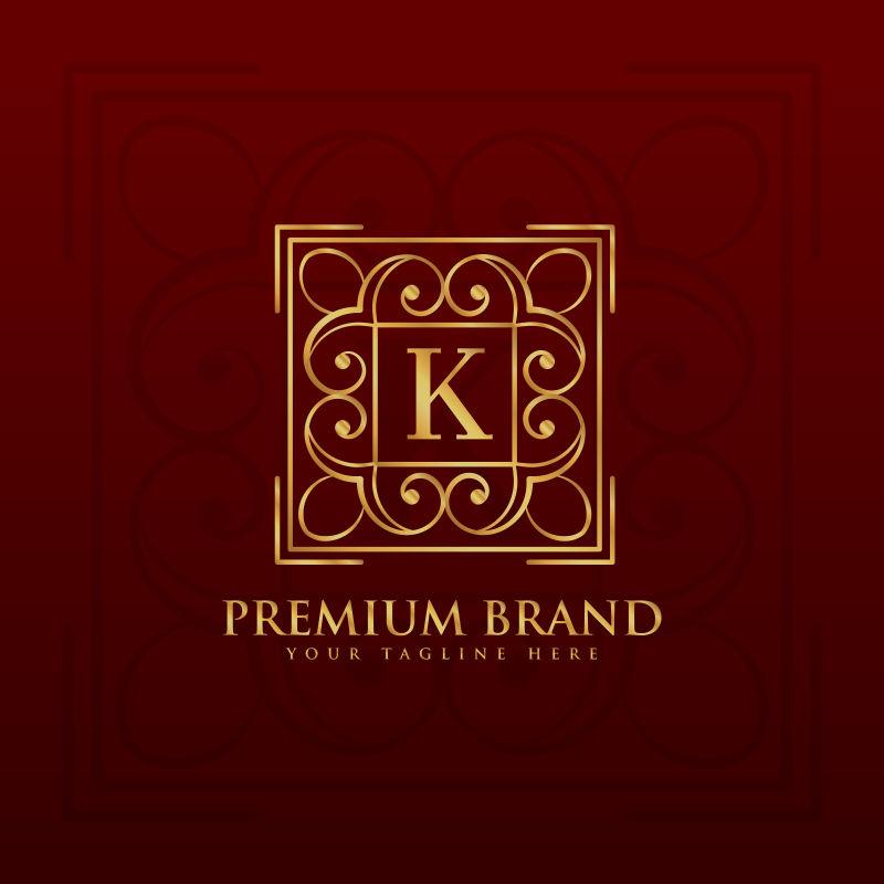 抽象矢量花纹装饰的金色字母k标志设计