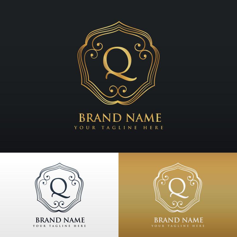 抽象矢量金色线性风格的字母q标志设计