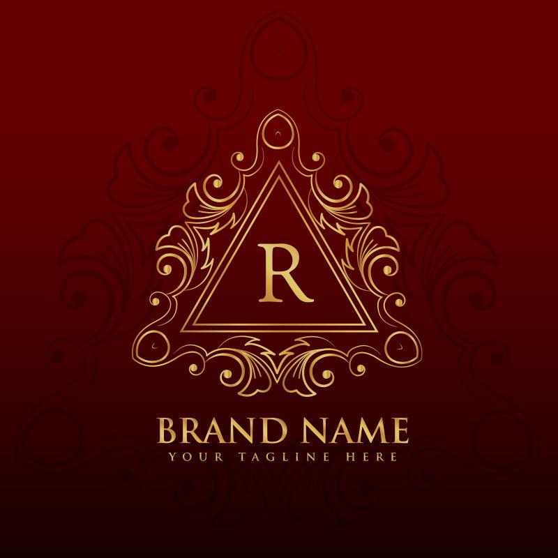 抽象矢量金色线性花纹装饰的字母r标志设计