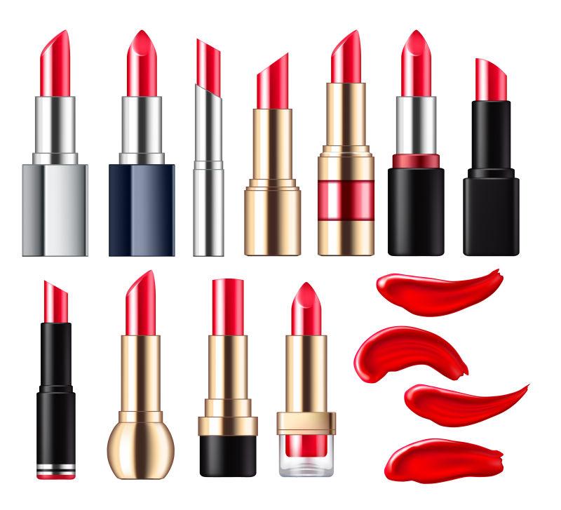 红色唇膏插图矢量设计