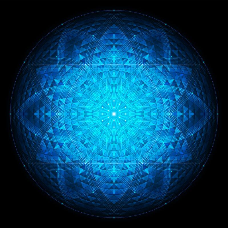 黑色背景上的复杂深蓝几何曼荼罗神圣几何学生命之花矢量素材 高清图片 摄影照片 寻图免费打包下载