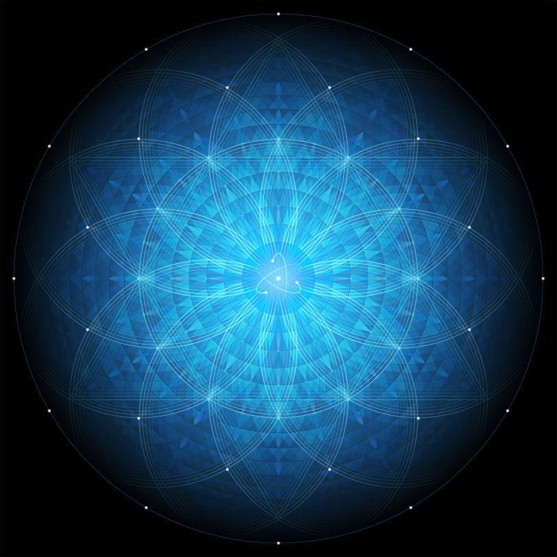 黑色背景上的复杂深蓝色几何曼荼罗神圣几何学生命之花和原子矢量素材 高清图片 摄影照片 寻图免费打包下载