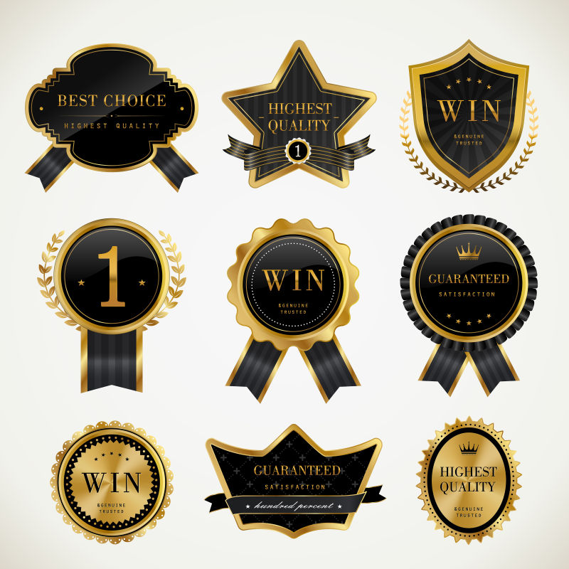 矢量不同形状的奖章标签设计