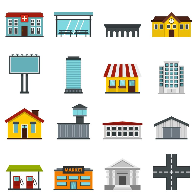 创意矢量城市建筑图标设计