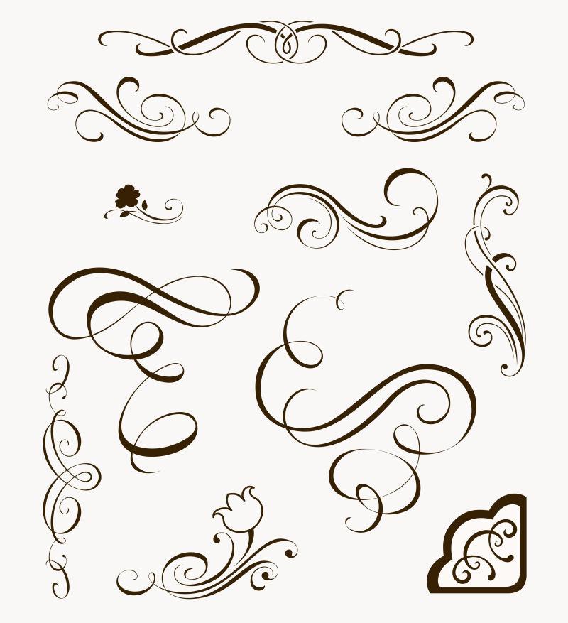 创意矢量现代手绘笔触设计元素