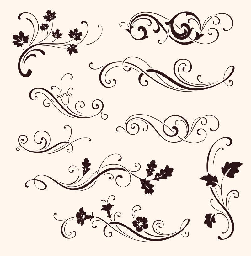 抽象矢量现代手绘花纹装饰设计元素