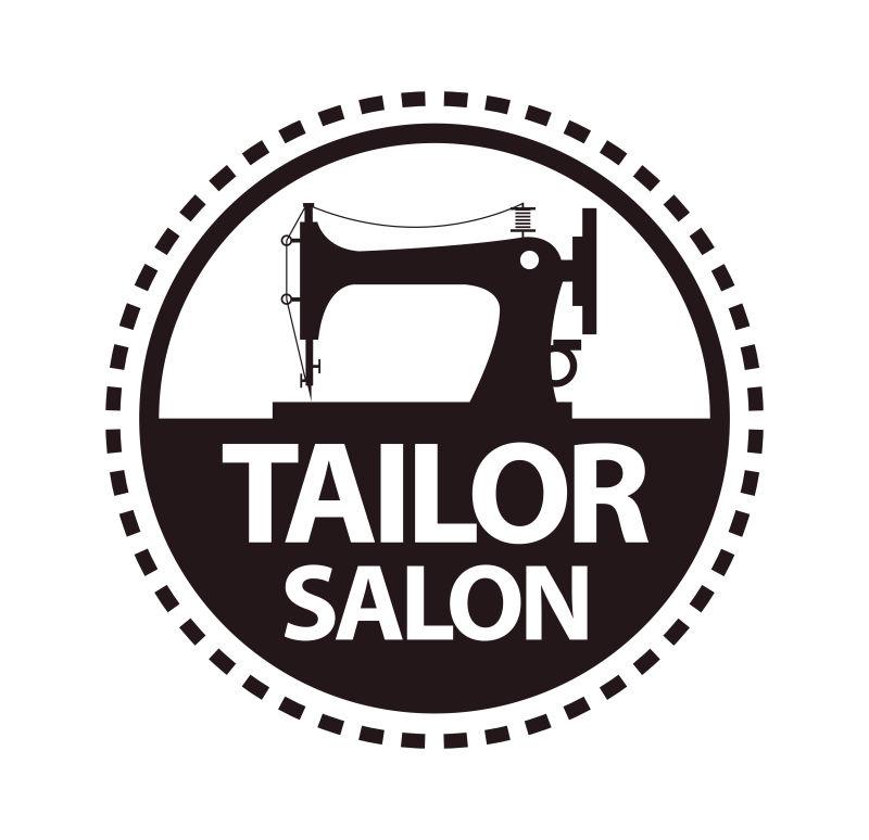 抽象矢量裁缝店标志创意设计