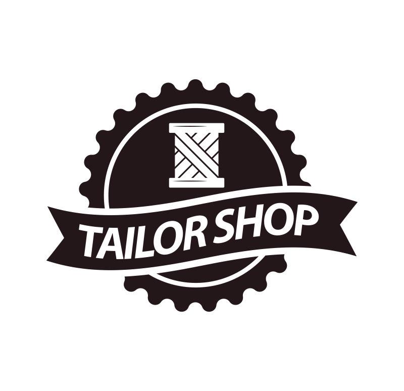 抽象矢量裁缝店标志设计