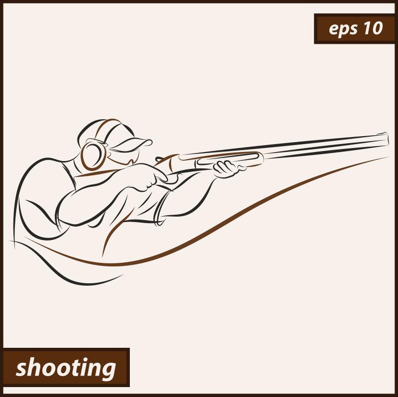 抽象矢量现代射击运动员设计插图