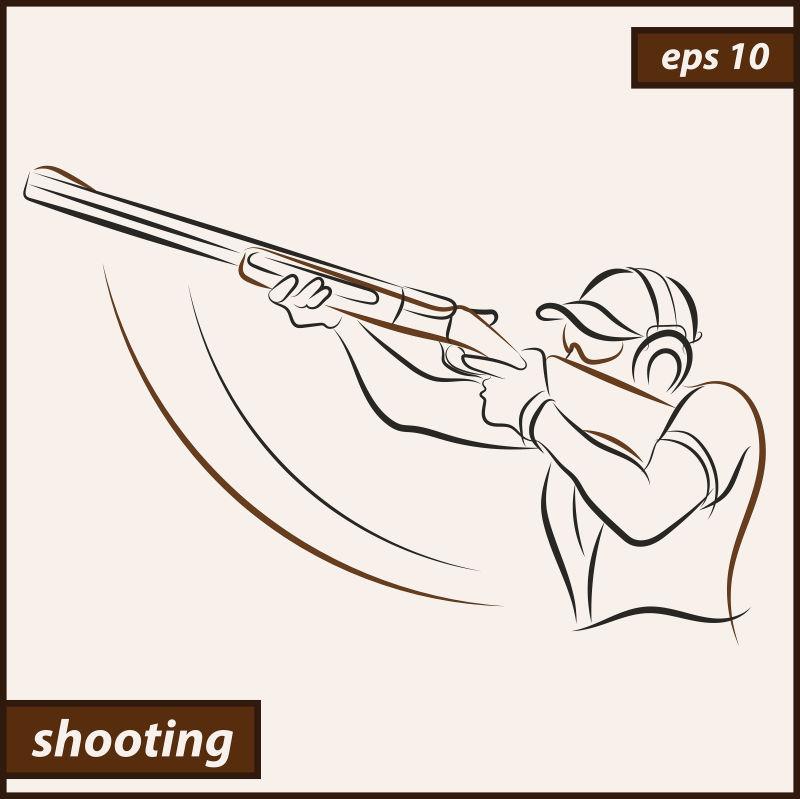 抽象矢量现代奥运会射击项目设计插图