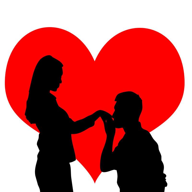 创意矢量现代浪漫求婚的情侣剪影插图