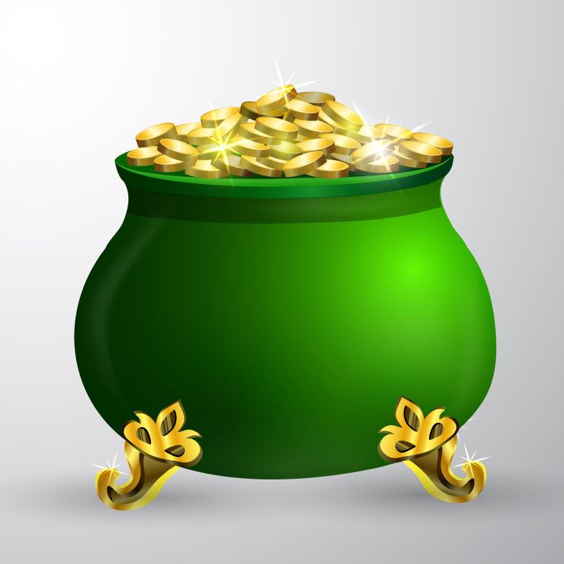 抽象矢量圣帕特里克节主题金币背景设计