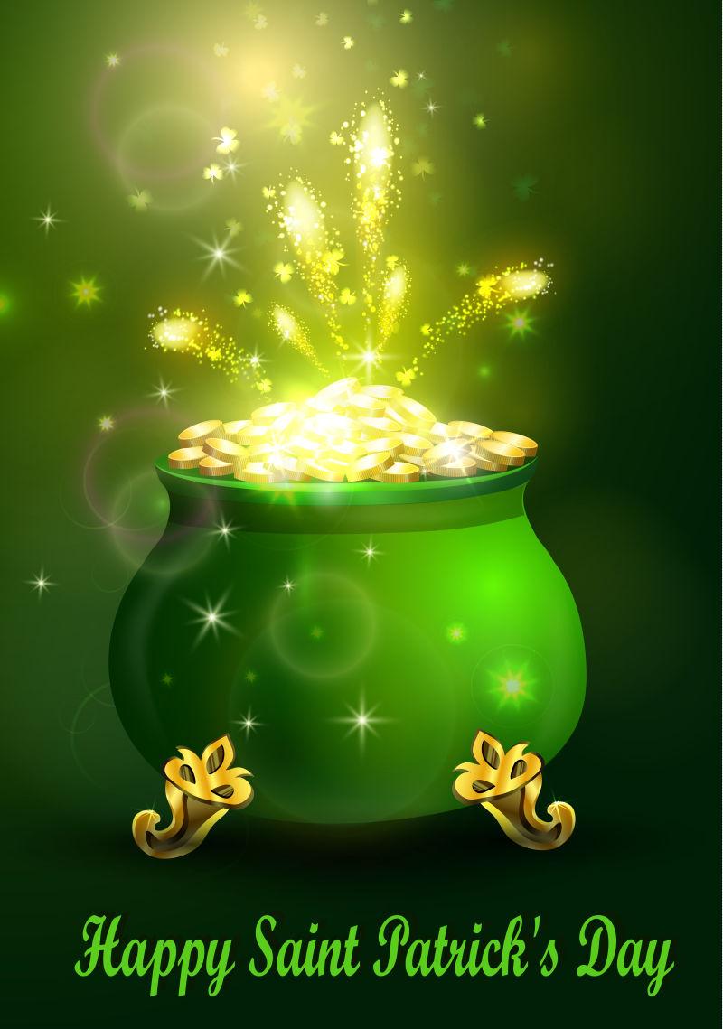矢量金币元素的抽象圣帕特里克节主题海报设计