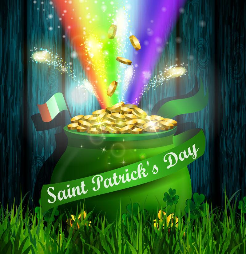矢量金币和彩虹元素的圣帕特里克节主题海报设计