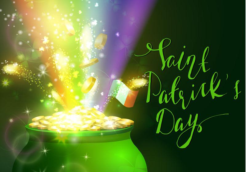 抽象矢量圣帕特里克节主题的庆祝纪念背景